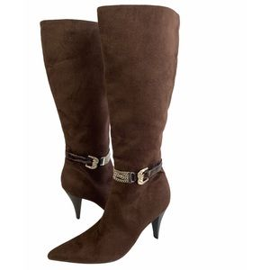 Styluxe Brown Suede Chain Knew High Boots Sz 7.5